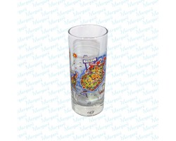 Water Glass Multicolor Map Paros