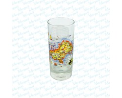 Water Glass Multicolor Map Skiathos