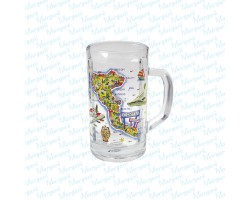 Beer Glass Multicolor Map Corfu